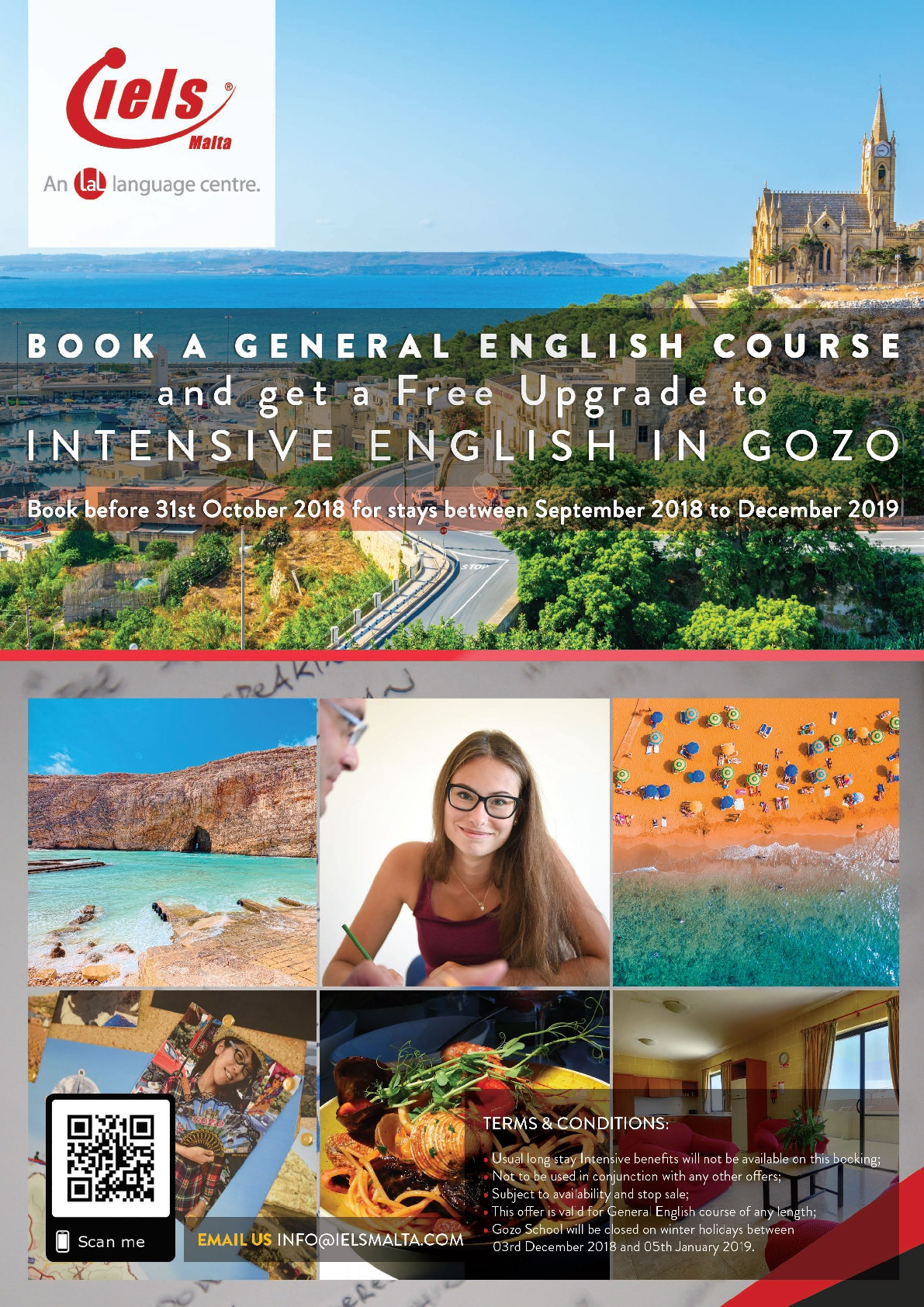 Free upgrade to Intensive English at IELS Gozo